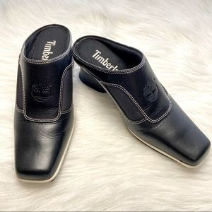 Timberland Square Toed Leather Mules Size 6 Black